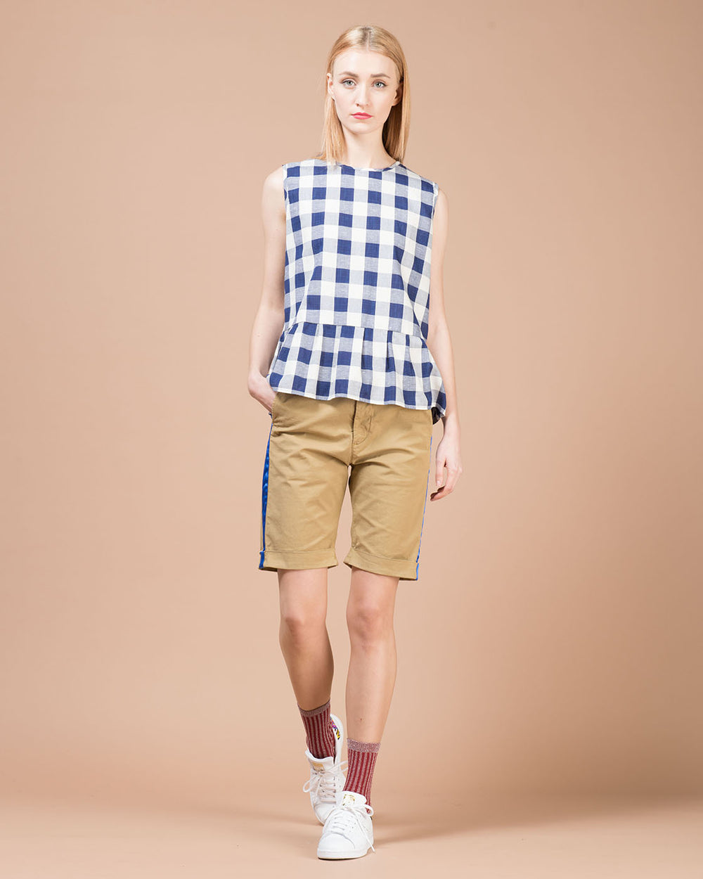Khaki Contrast Stripes Shorts