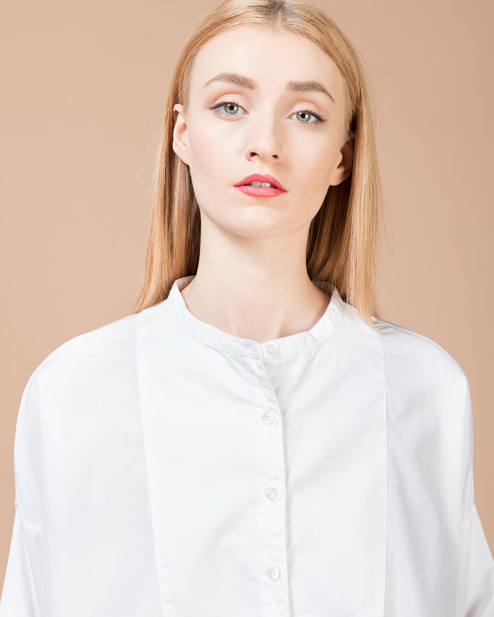 White Band Collar Shirt