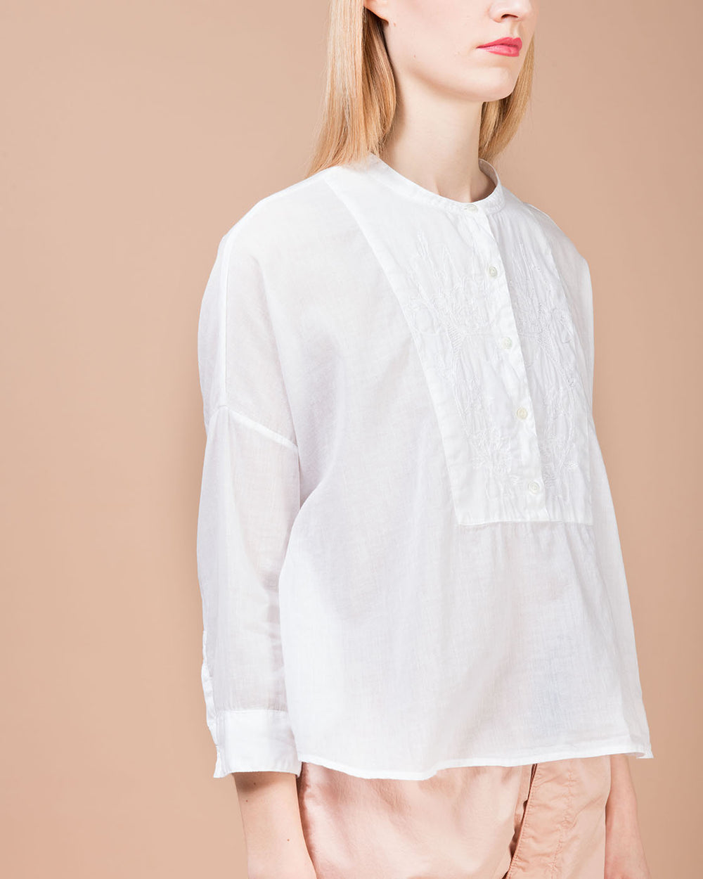 White Embroidery Band Collar Shirt