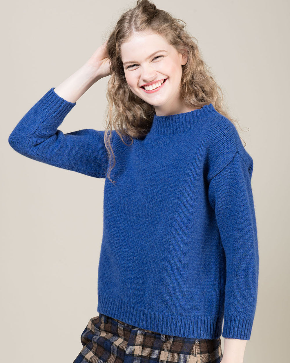 Blue Sweater with Funnel Neck