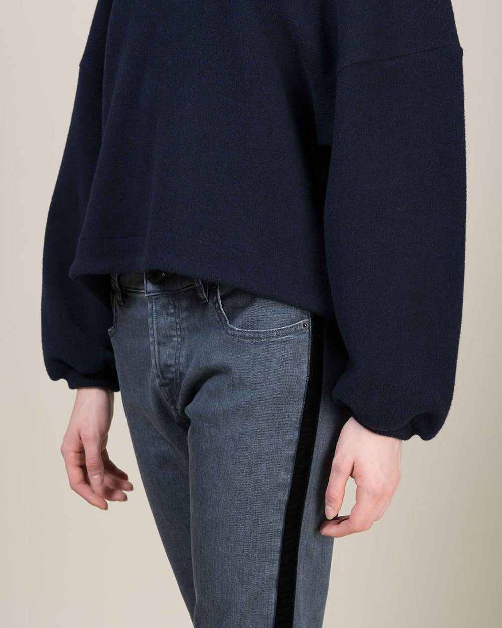 Blue Wool Loose Fit Sweatshirt