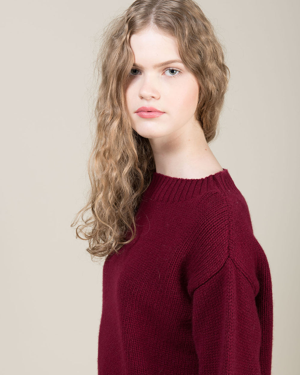 Bordeaux Sweater with Funnel Neck