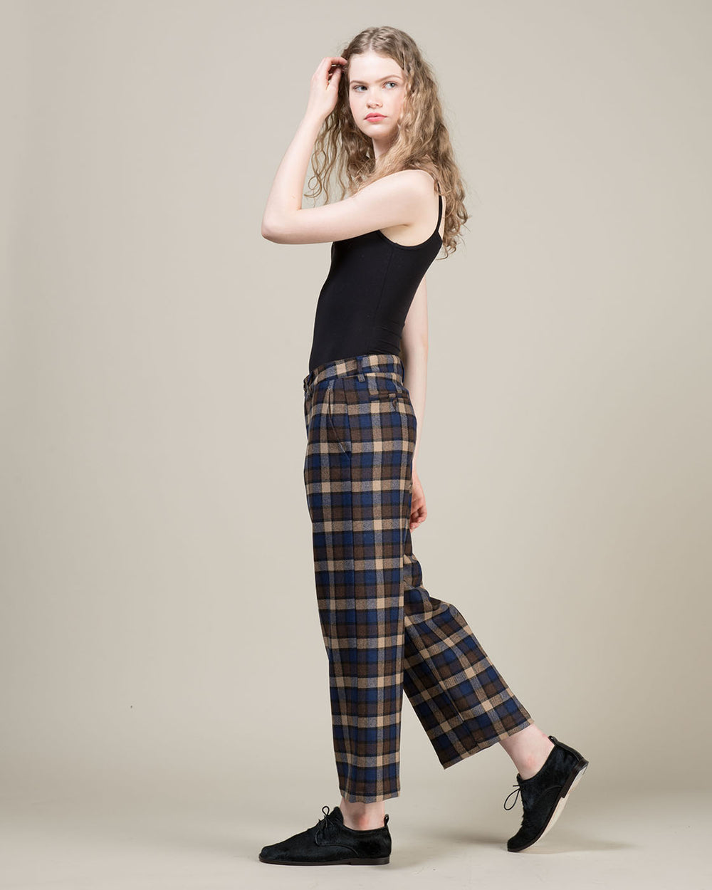 Brown and Blue Checked Cropped Pants