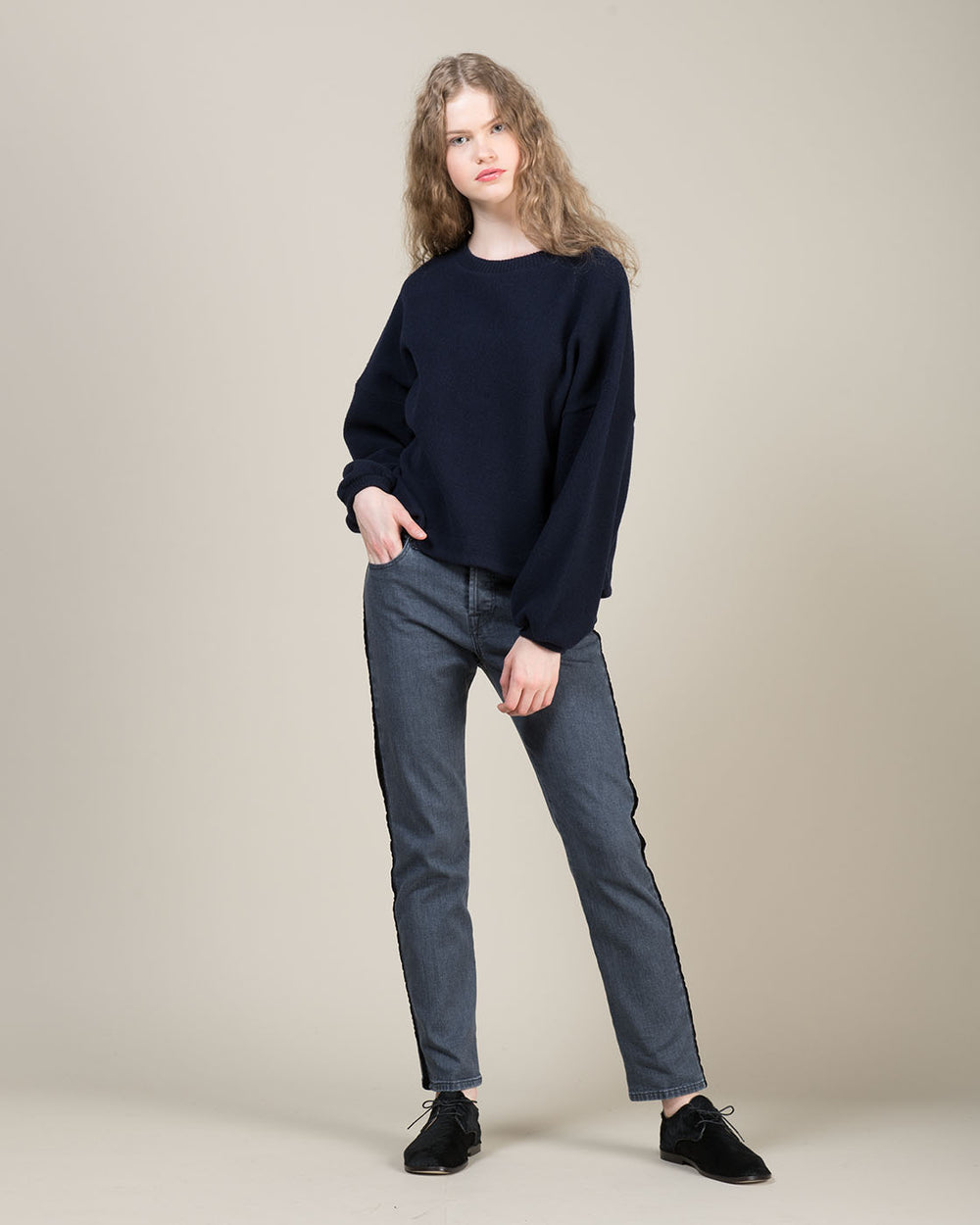 Grey Jeans with Side Contrast