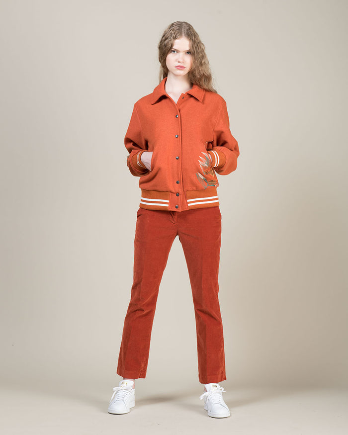 Orange Cropped Corduroy Pants