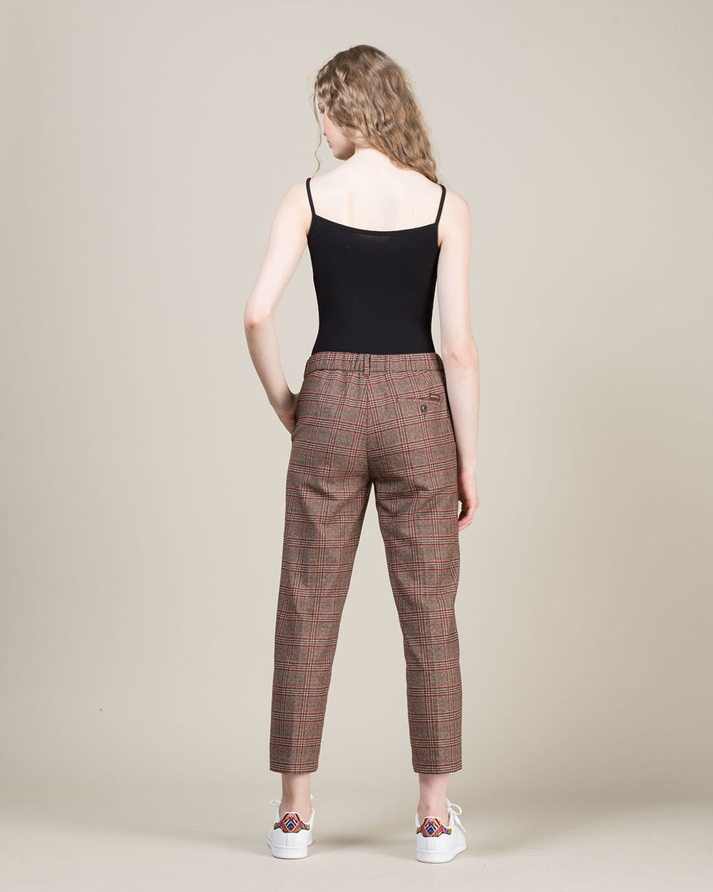 Prince of Wales Pattern Straight Leg Pants