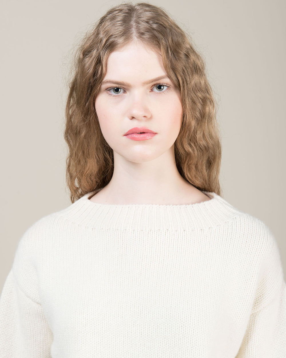 White Sweater with Funnel Neck