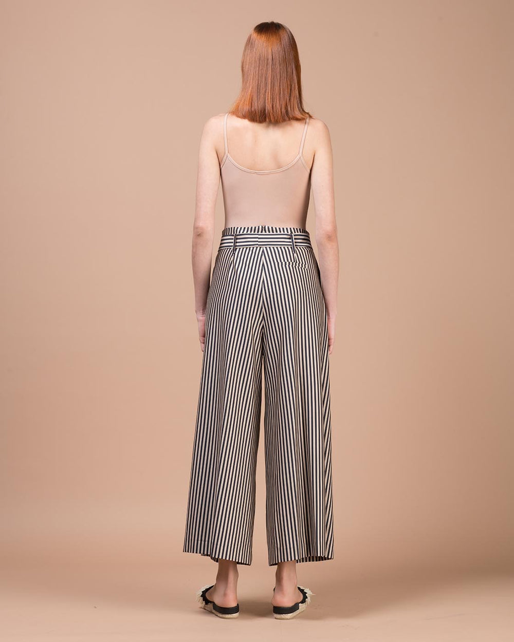Beige & Black Striped Wide Pants