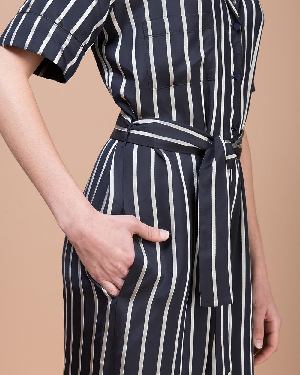 Blue Satin Striped Jumpsuit