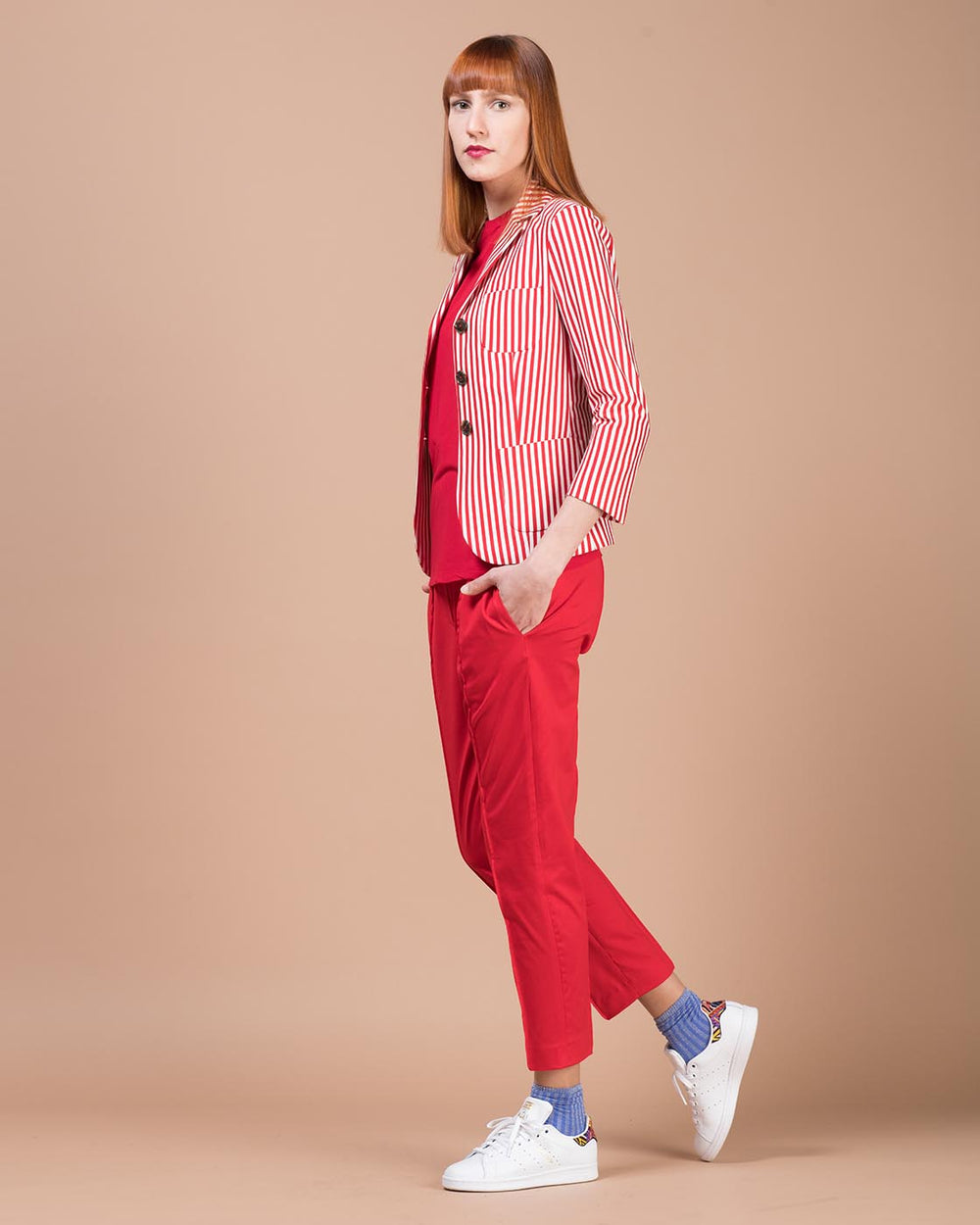 Red & White Striped Fitted Jacket