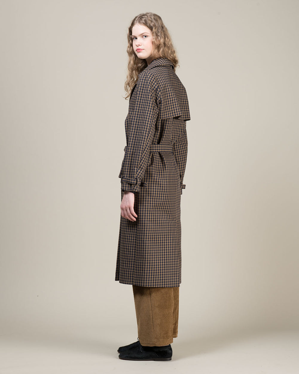 Blue and Beige Checked Trench