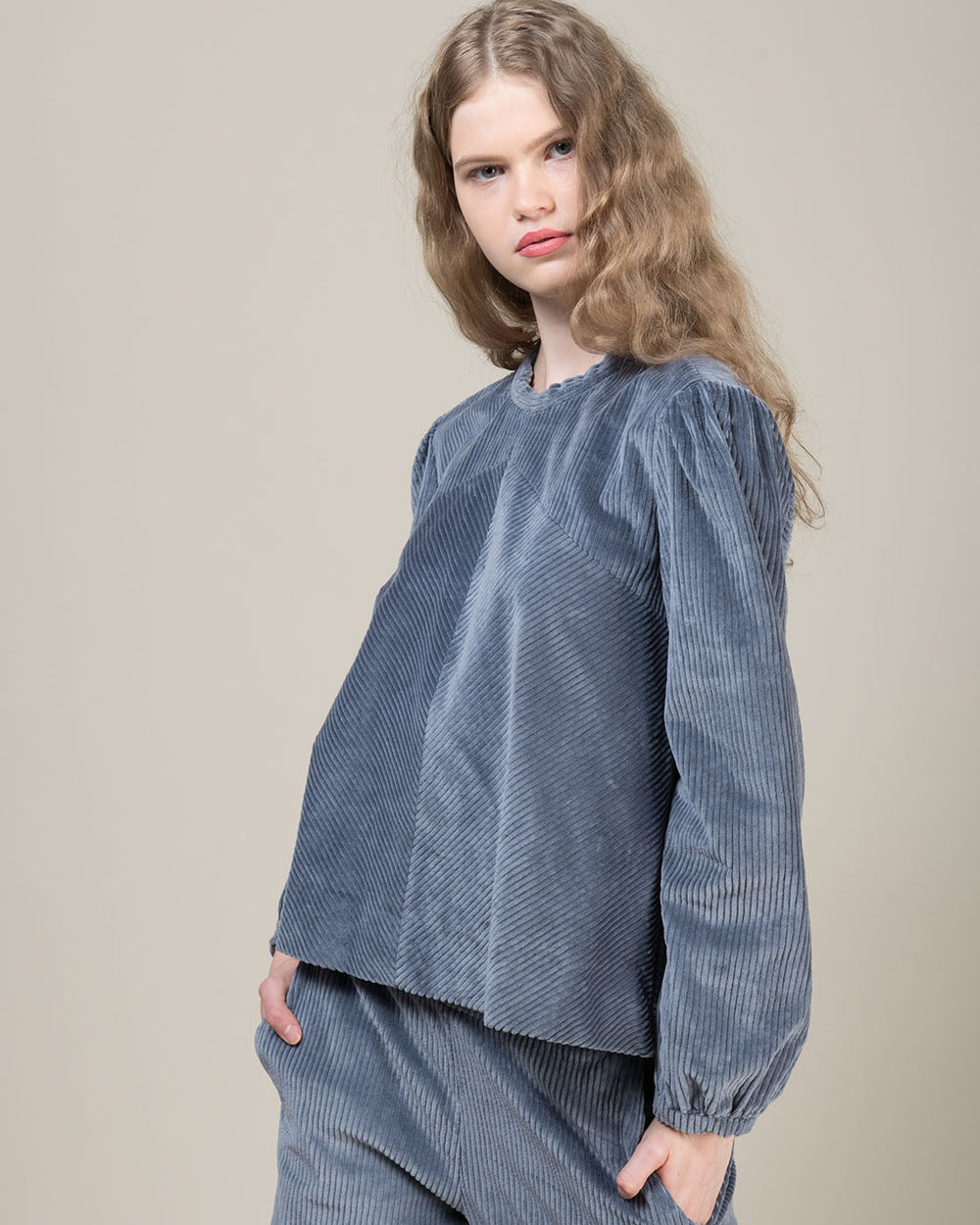 Blue Corduroy Blouse