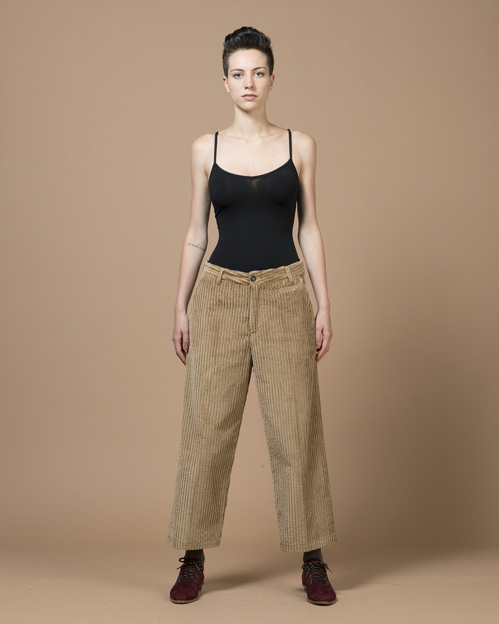 Camel Corduroy Wide Pants