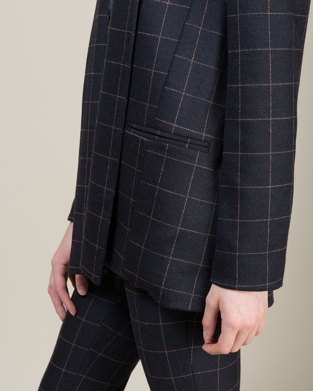 Dark Blue Jacket with Large Beige Square Line Pattern