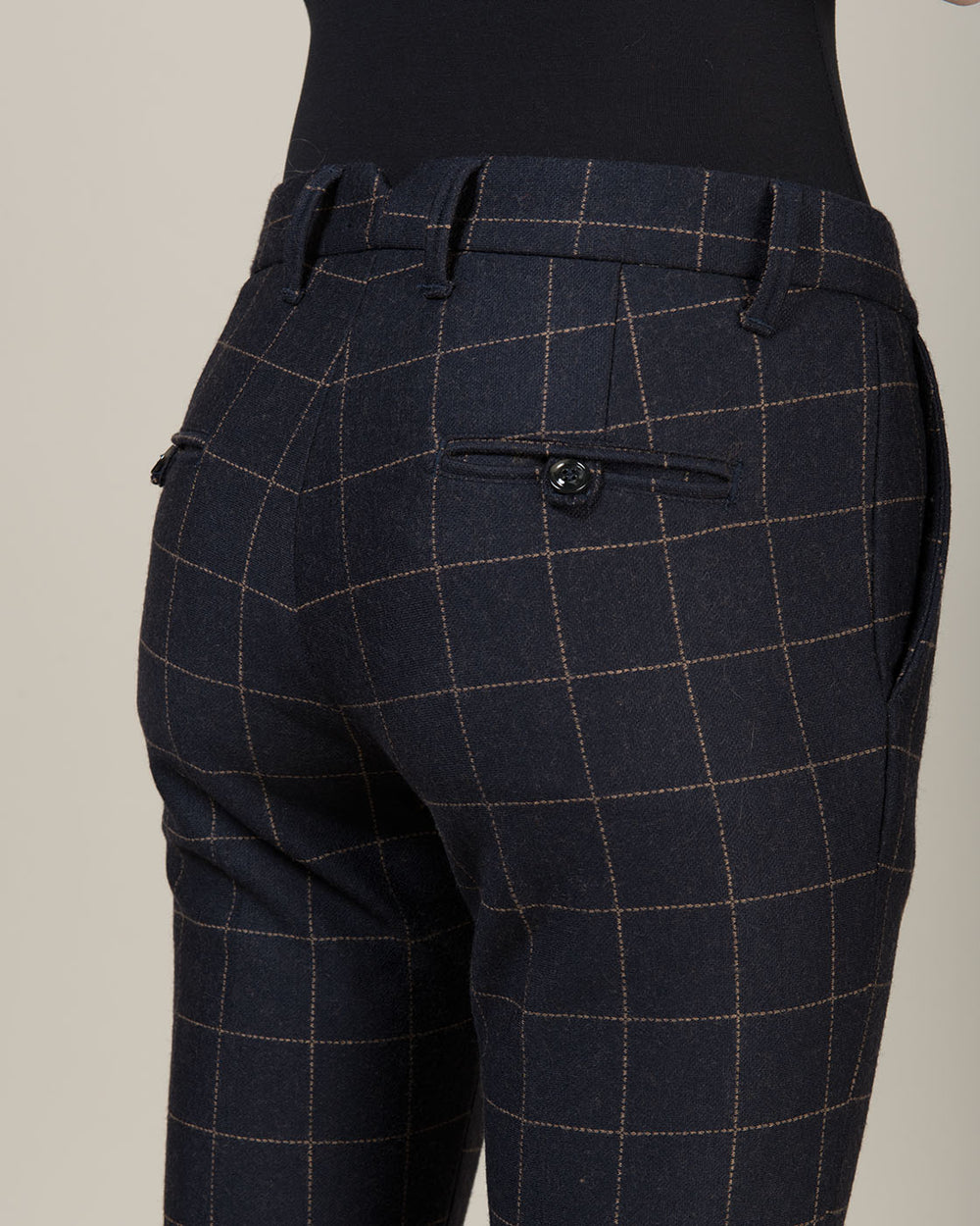Dark Blue Pants with Large Beige Square Line Pattern