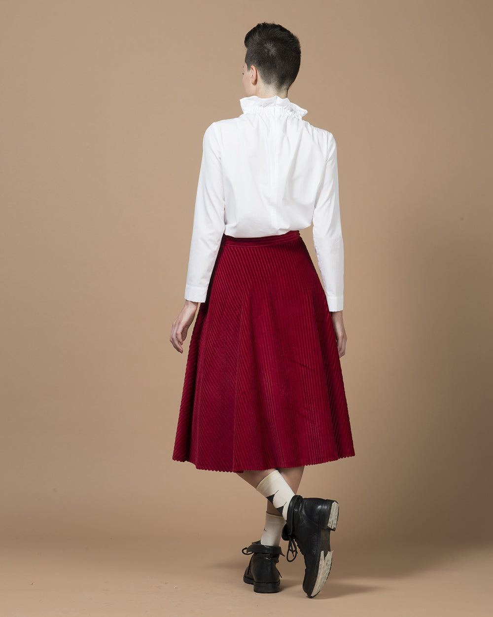 Red Corduroy Skirt