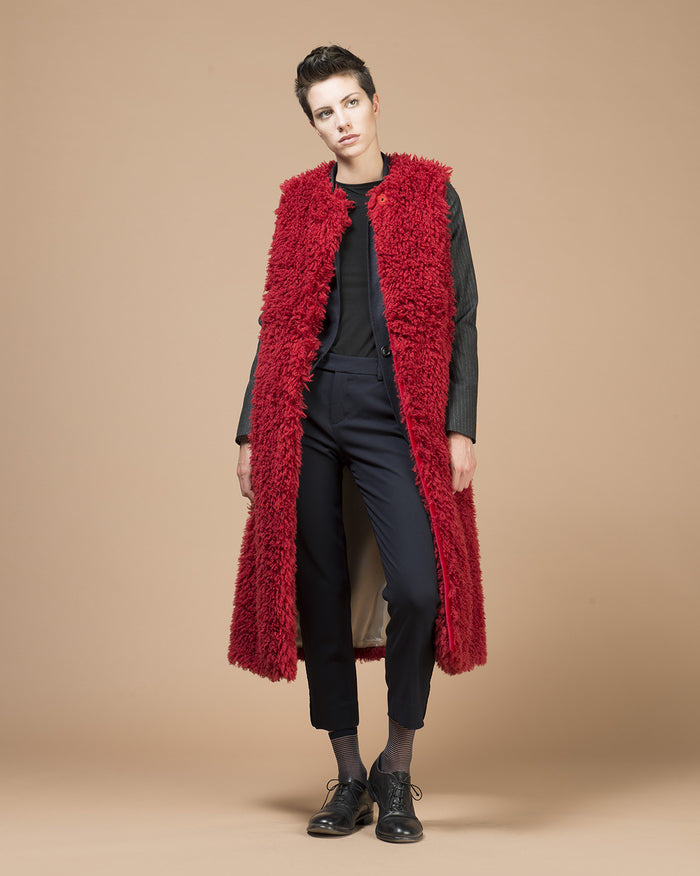 Red Fur Long Vest