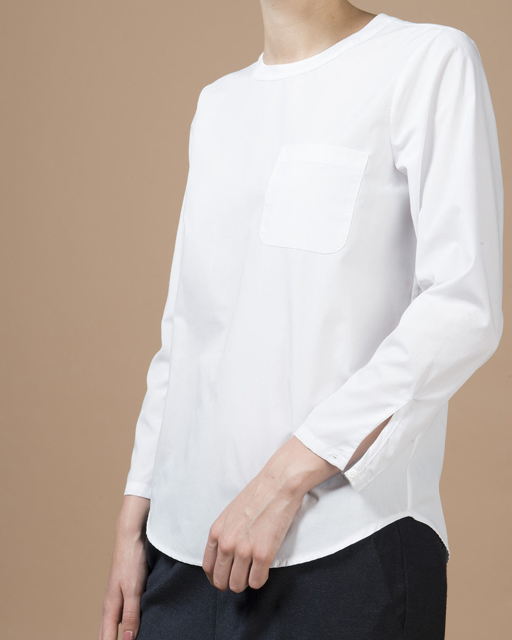 White Poplin Pocket Blouse
