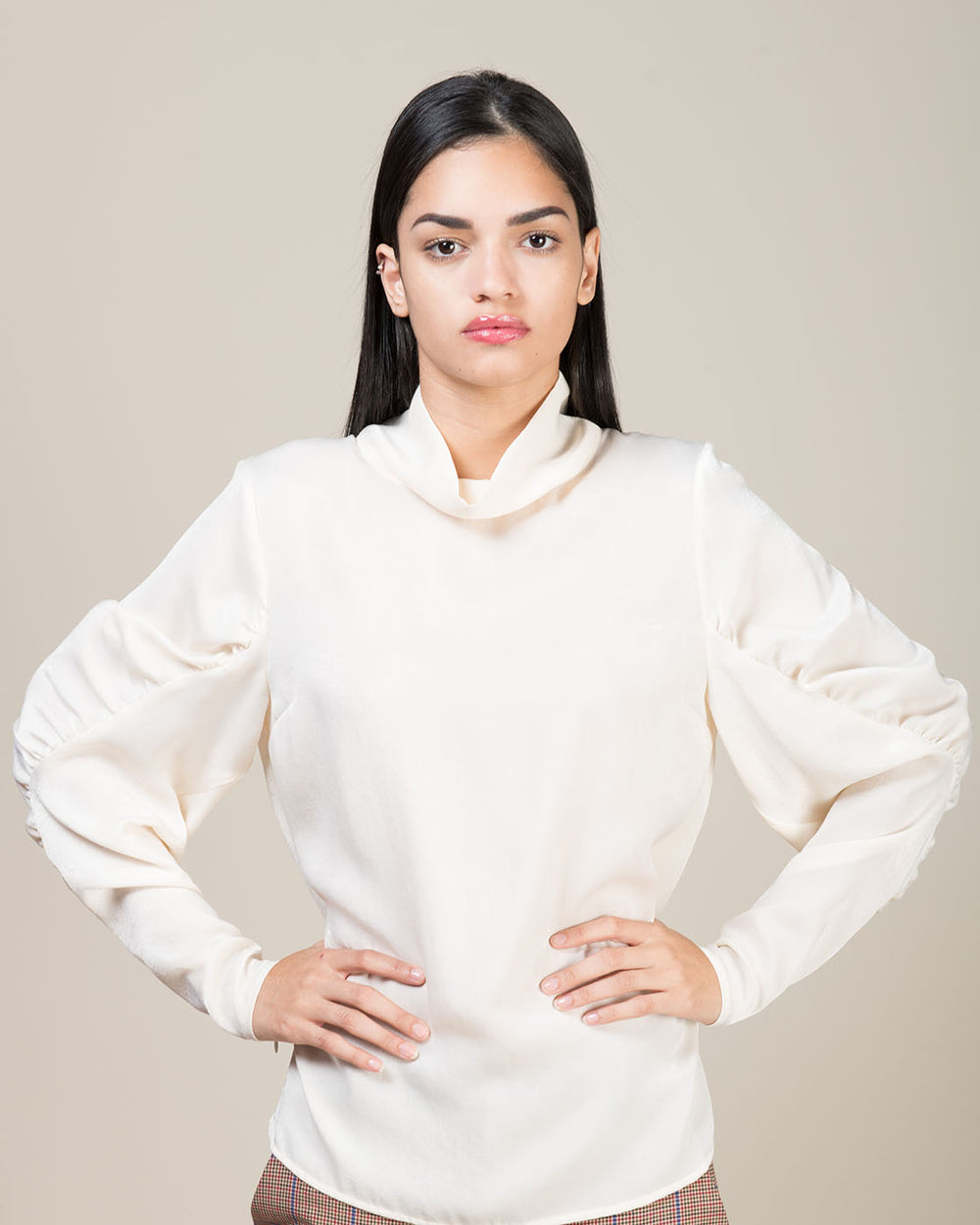 White Ivory Ruched Sleeve Blouse
