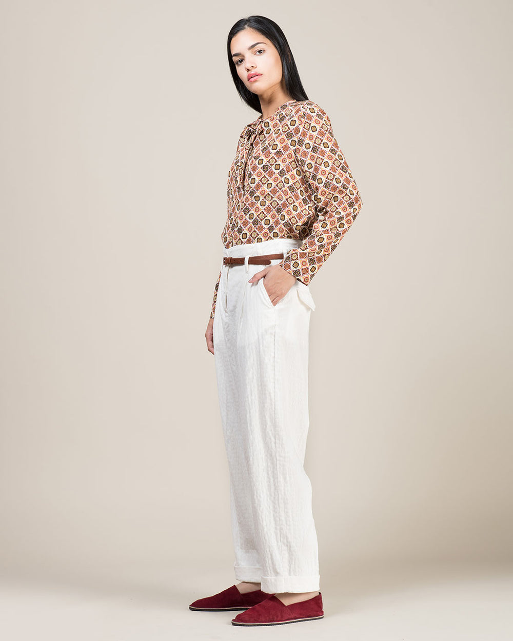 White Pants in Fine Corduroy