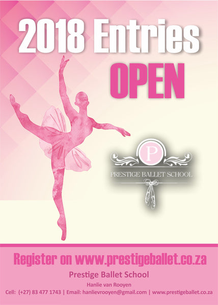Pink Ballet Flyer showing ballet dancer with 2018 entries open with her logo