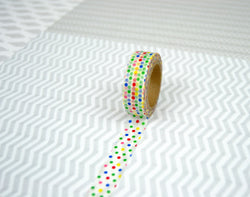 Washi tape bolinhas multicores