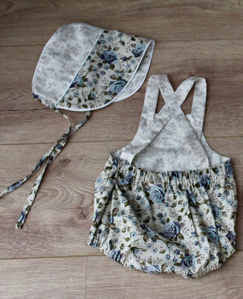 Blue Rose Romper