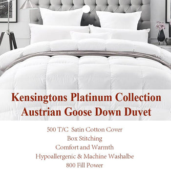 Kensingtons Platinum 100% Austrian Goose Down Duvet - 5 Year Warranty