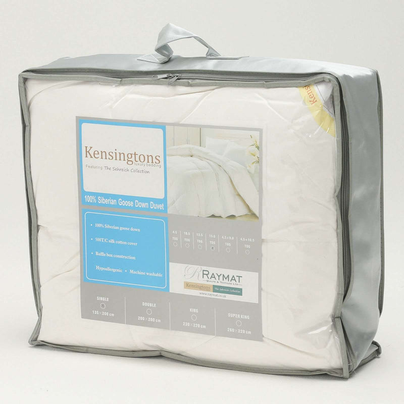 100% Siberian Goose Down Silk Cover Super King Bed Duvet