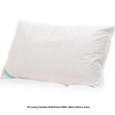Luxury 3ft King Size Canadian Goose Feather & Down 1 x Pillow 1500G