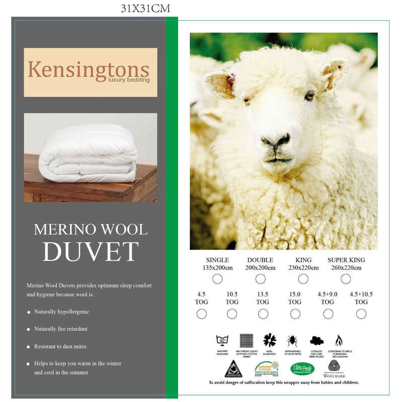 Natural Merino Wool Fiber 400T/C Egyptian Cotton Cover Duvet Single Bed