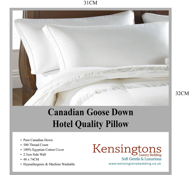Hotel Quality Pure Canadian Goose Down Luxurious 1 x Pillow 1000G