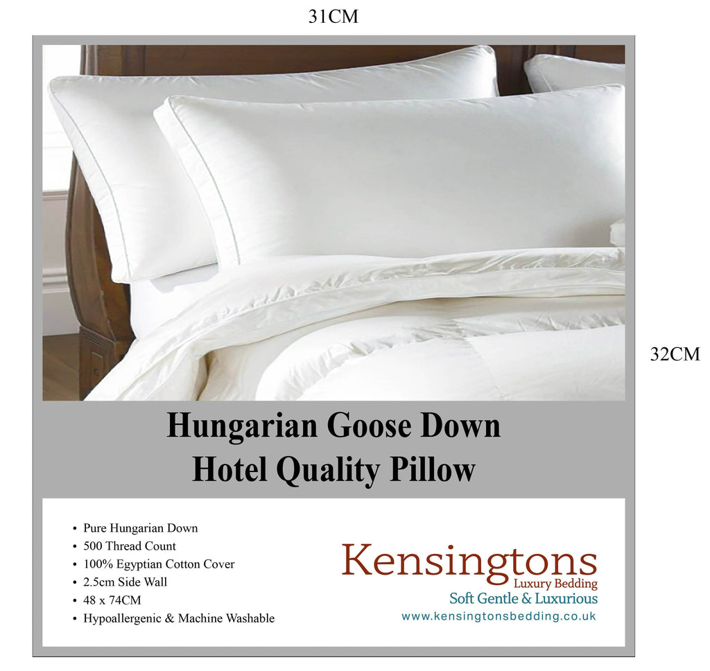 100% Pure Hungarian Goose Down Pillow Hotel Quality 4 x Pillows 1000G