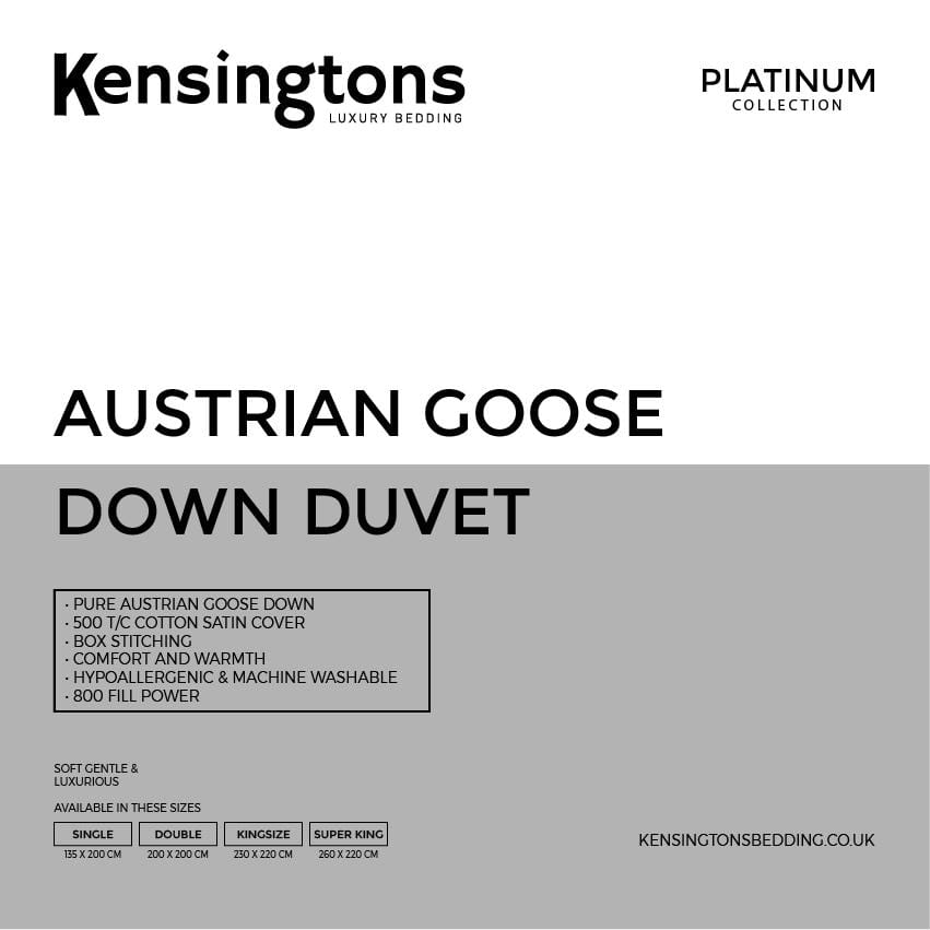 Kensingtons Platinum 100% Austrian Goose Down King Bed Duvet - 5 Year Warranty