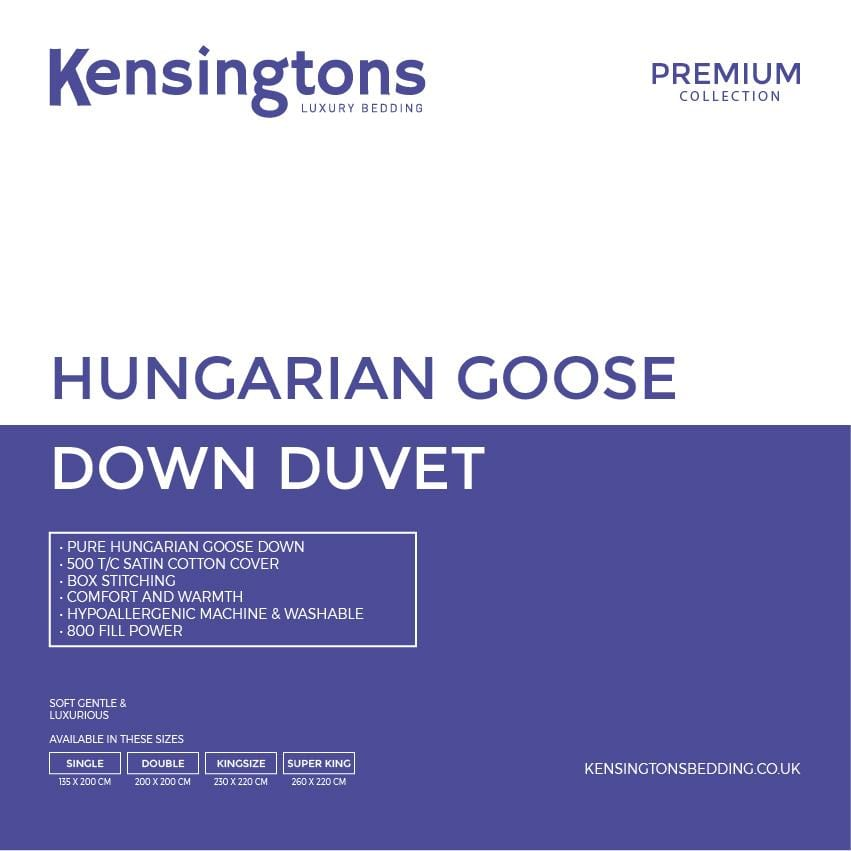 Kensingtons 100% Hungarian Goose Down Premium Duvet - 3 Year Warranty