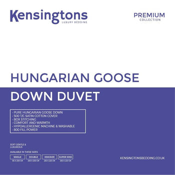Kensingtons 100% Hungarian Goose Down Premium Duvet Double Bed - 3 Year Warranty