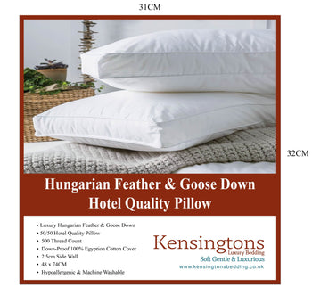 2 x Luxury Goose Feather and Down Pillow Extra Filled Hotel Quality 1000G