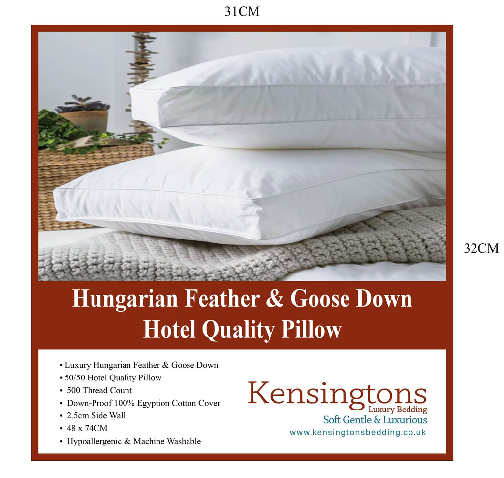 400 T/C Hungarian Goose Feather Hotel Quality Luxury 2 x Pillow 1000G
