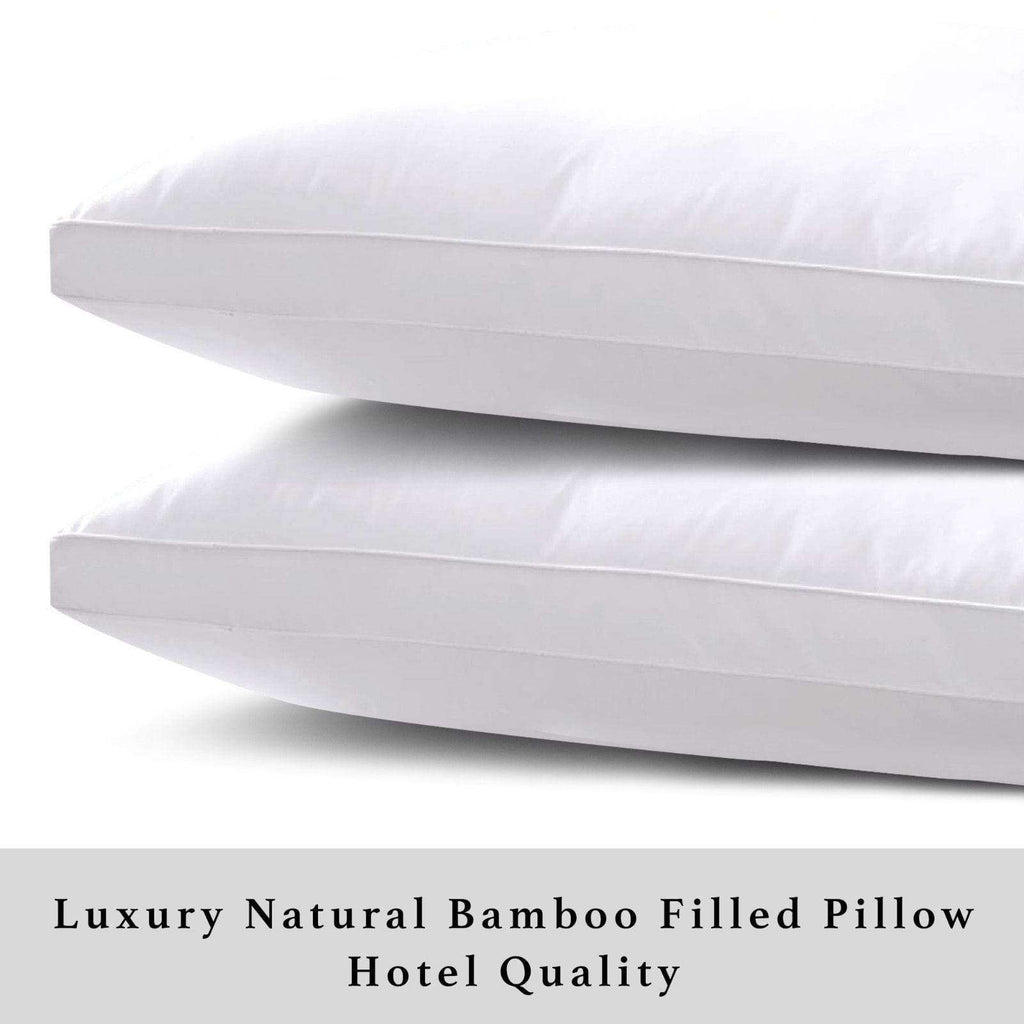 Super Soft Natural Pure Bamboo Fiber Filled Pillows Egyptian Cotton Cover 1000g