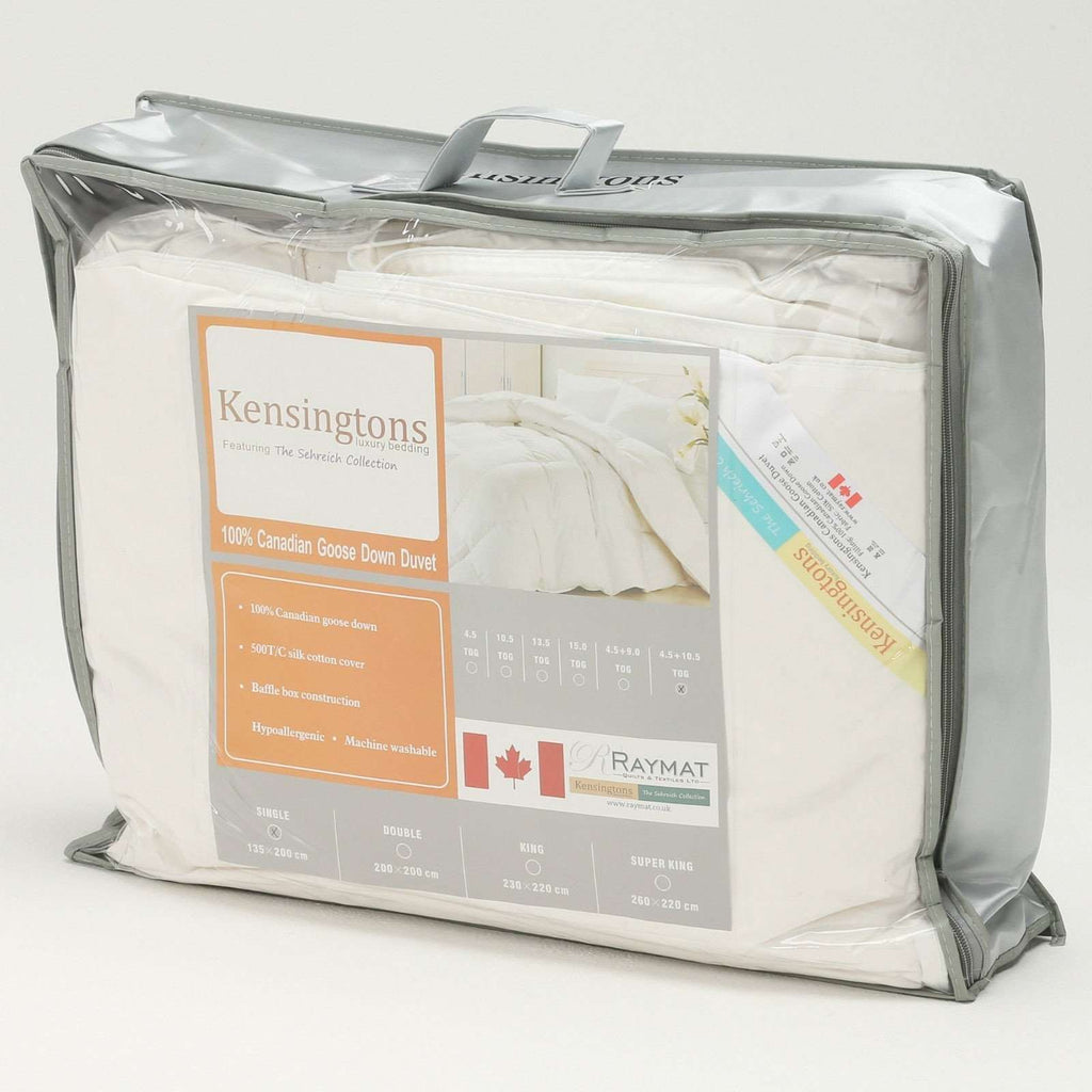 100% Canadian Goose Down Silk Cover Super King Bed Duvet