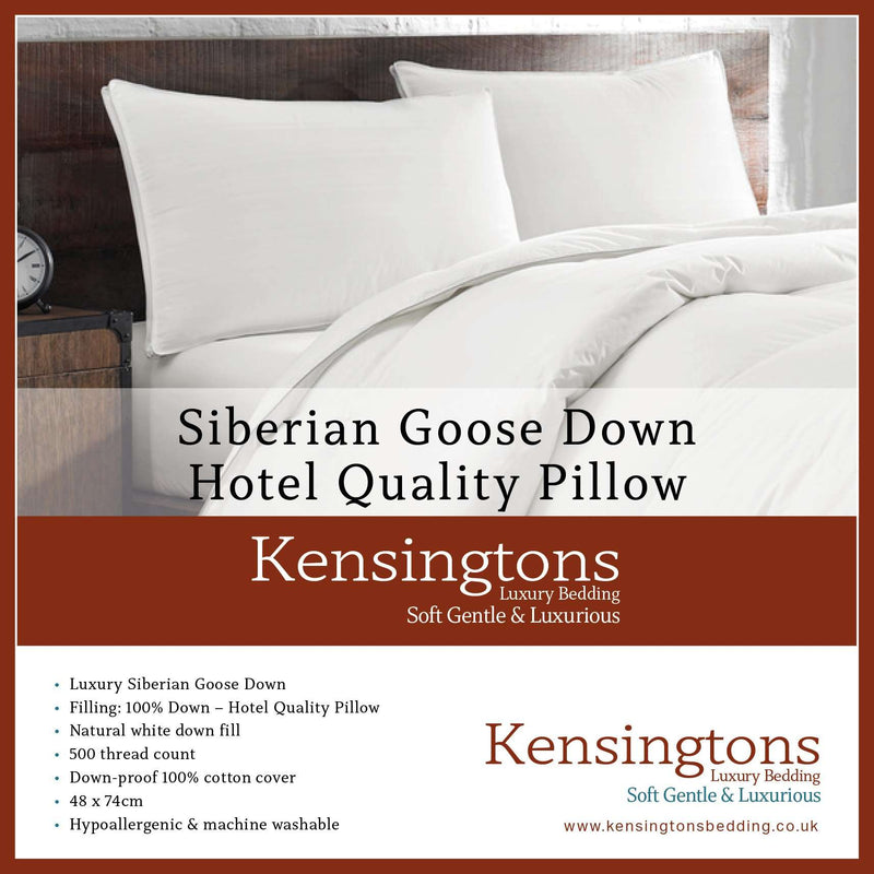 Kensingtons 500 T/C Pure Siberian Goose Down Luxury 1 x Pillow 1000G