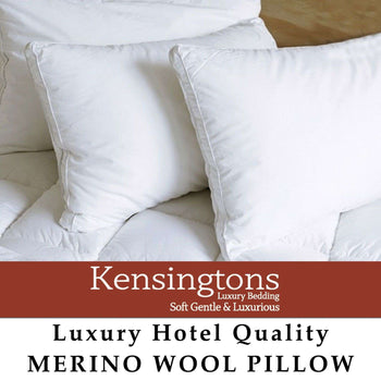 400 T/C Cotton Cover Natural Merino Wool Filled 1 x Pillow 1000G