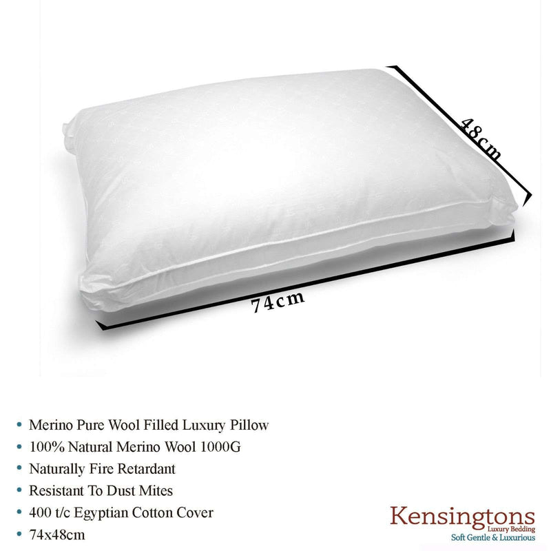 400 T/C Cotton Cover Natural Merino Wool Filled 4 x Pillows 1000G