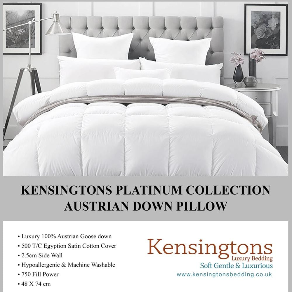 Kensingtons Platinum 100% Austrian Goose Down Platinum Pillows