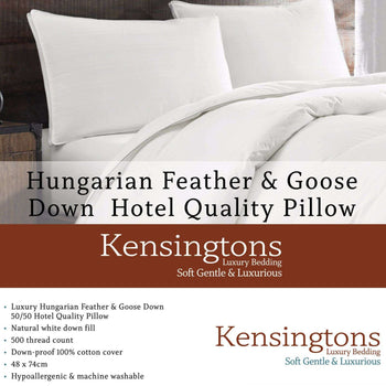 Kensingtons Hungarian Goose Feather Down Box Pillow 1000G