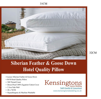 Siberian Goose Feather And Down Luxury Pillows 1000G