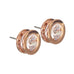 Designer Bezel Stud Earrings Rose Gold or Silver - www.sparklingjewellery.com