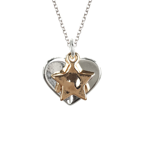 Two Tone Heart & Star Necklace - www.sparklingjewellery.com