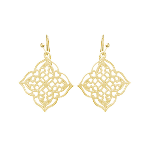 Filigree Geometric Pattern Matt Earrings - www.sparklingjewellery.com