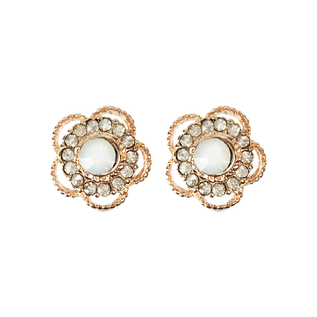 Crystal Flower Earrings - www.sparklingjewellery.com